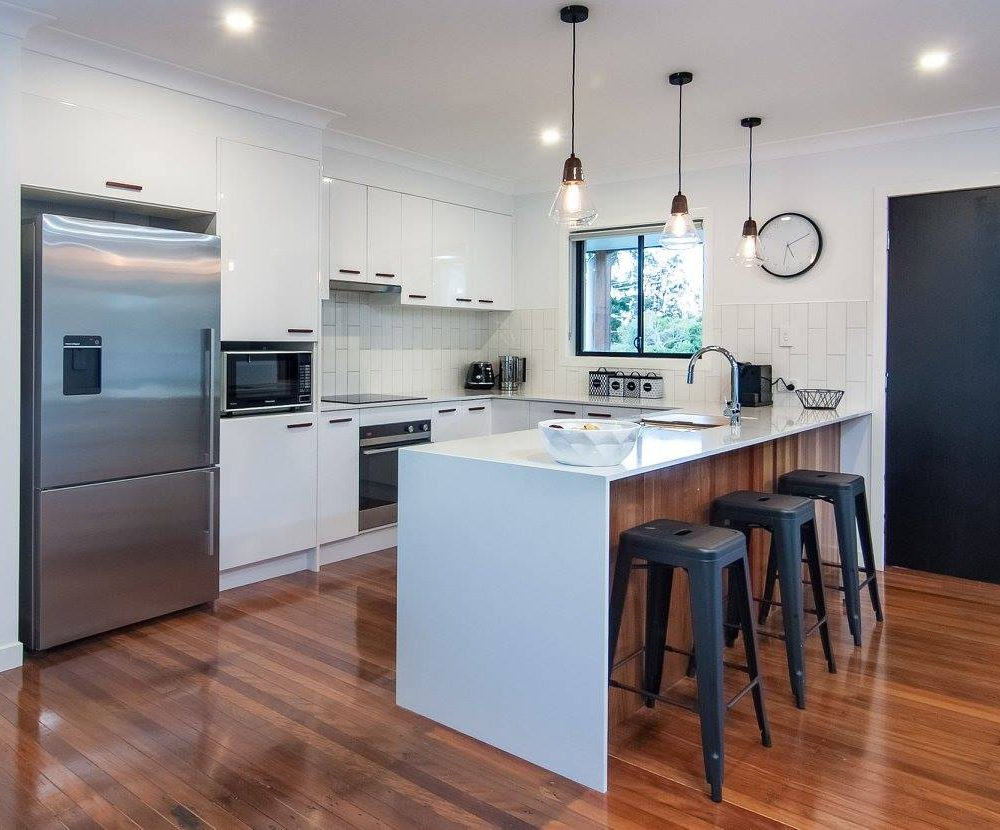 River City Constructions timber and white kitchen