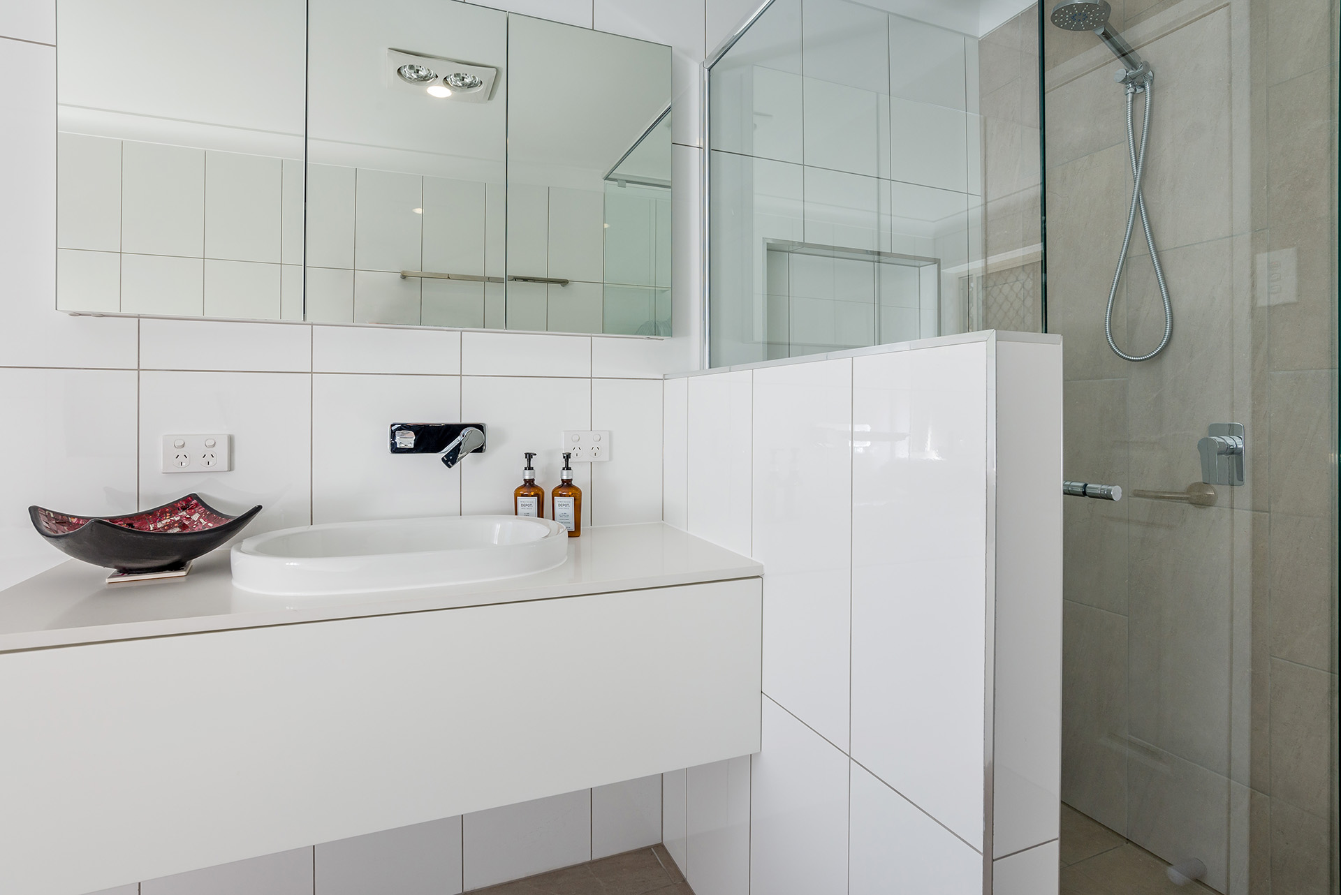 river city constructions bathroom white tiles renovation